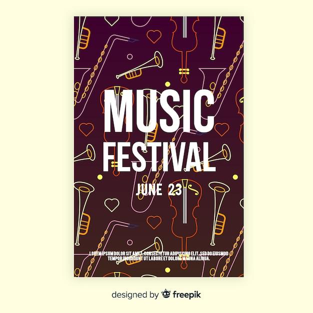 Афиша музыкального фестиваля Бесплатные векторы