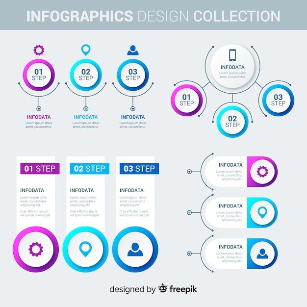 インフォグラフィック要素のコレクション 無料ベクター