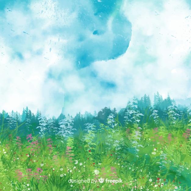 水彩春の風景 無料ベクター