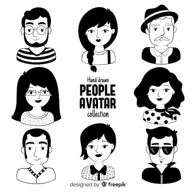 手描きの人々のアバターパック 無料ベクター