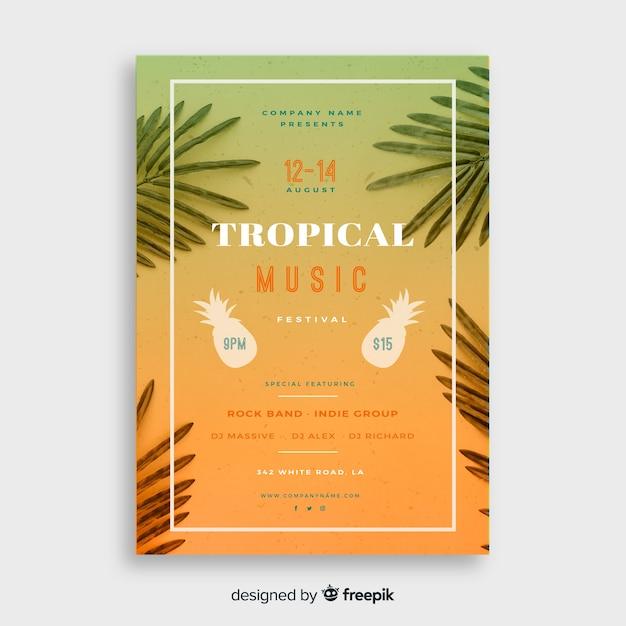 ビンテージ熱帯音楽祭ポスターテンプレート 無料ベクター