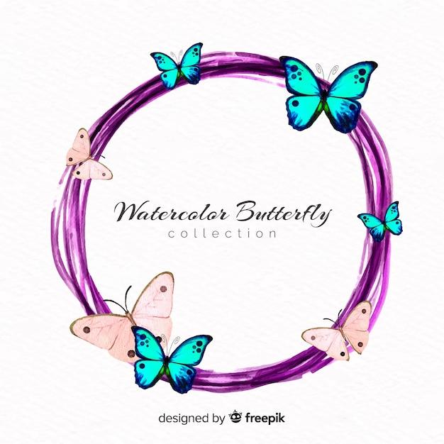 Акварельный венок бабочки Бесплатные векторы