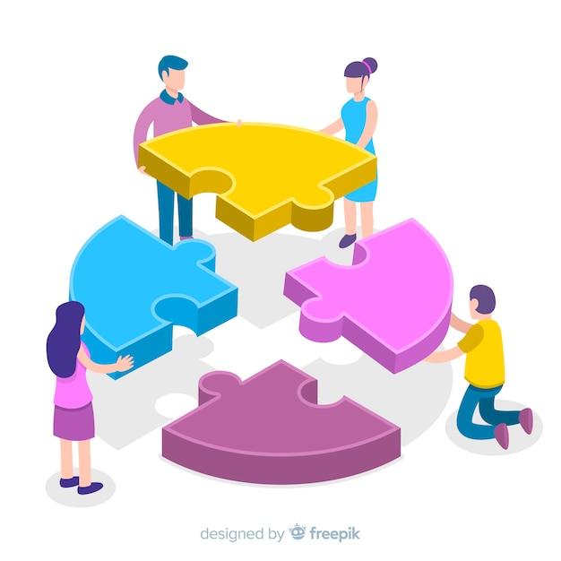 パズルのピース等尺性の背景を接続する人々 無料ベクター