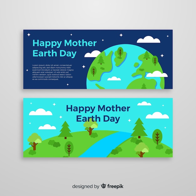 母なる地球の日バナー 無料ベクター