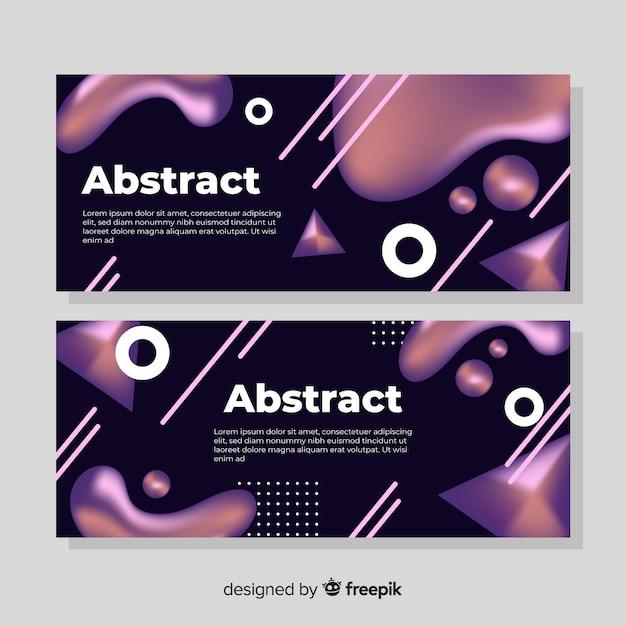 Абстрактные жидкие баннеры Бесплатные векторы