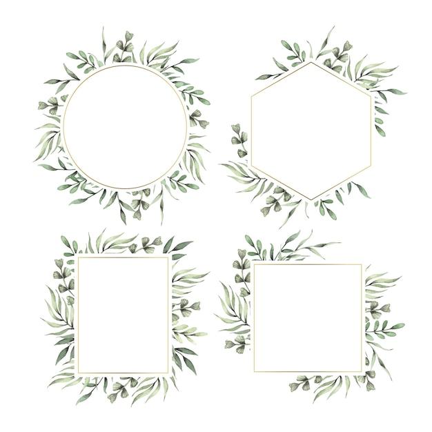Цветочная рамка-шаблон для свадьбы Бесплатные векторы