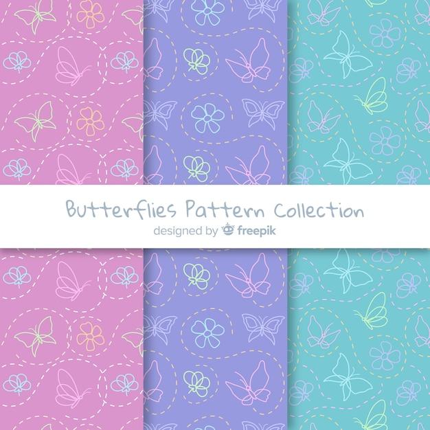 平らな蝶のパターン 無料ベクター