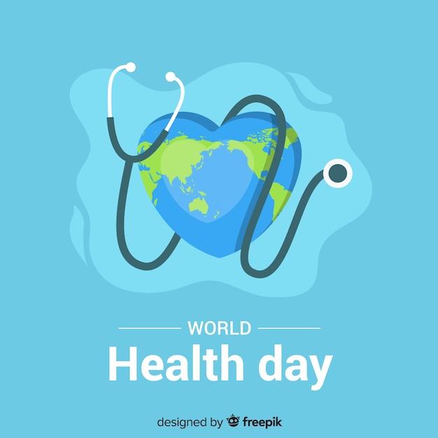 Плоский всемирный день здоровья фон Бесплатные векторы