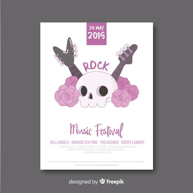 Нарисованный рукой шаблон плаката музыкального фестиваля Бесплатные векторы
