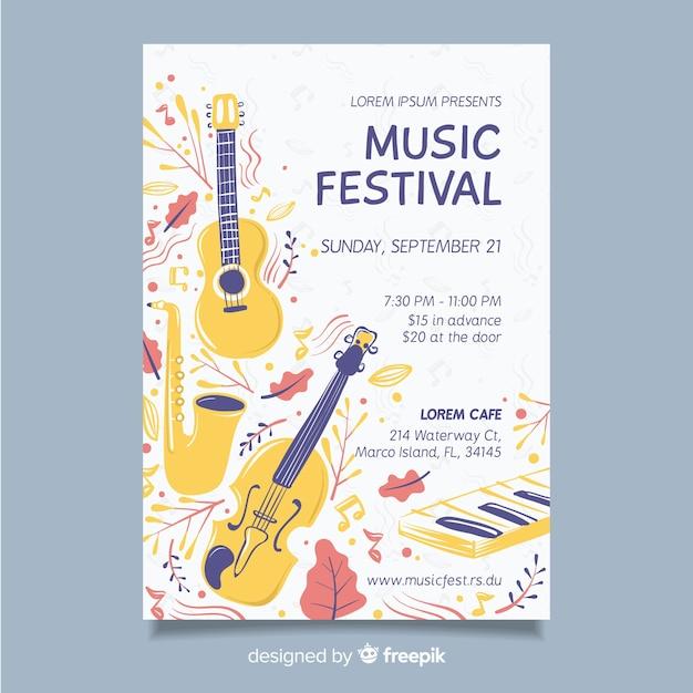 手描き音楽祭ポスターテンプレート 無料ベクター