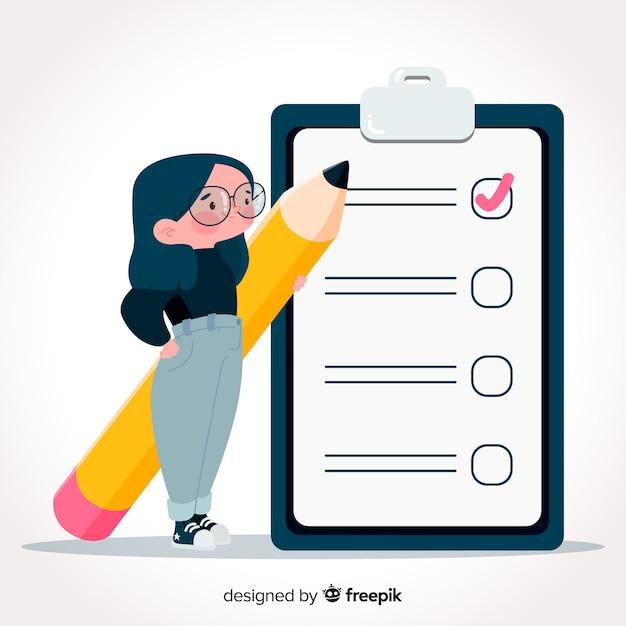 Нарисованная рукой женщина проверяя гигантскую предпосылку контрольного списка Бесплатные векторы