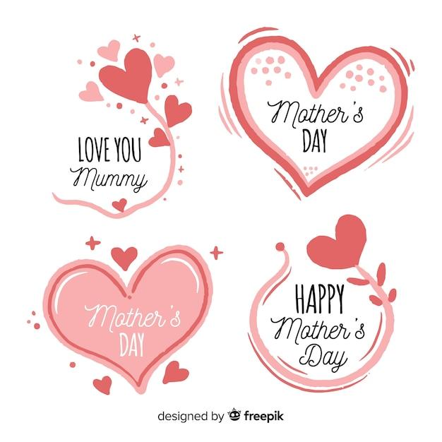 手描きの心と花の母の日バッジコレクション 無料ベクター