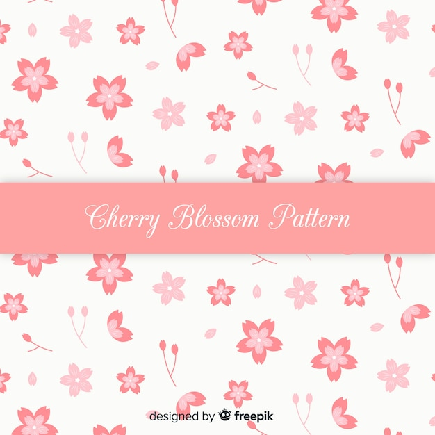 手描きの桜の花の背景 無料ベクター