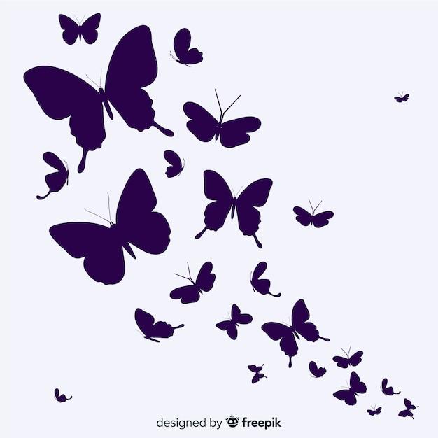 蝶の群れシルエット背景 無料ベクター