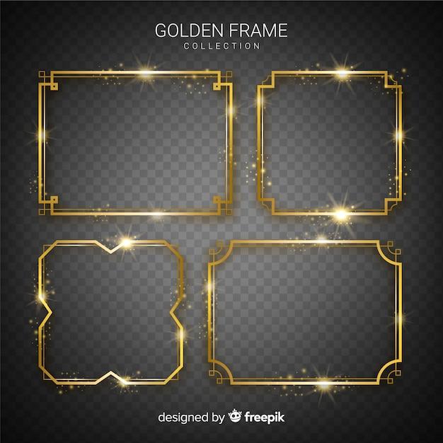 Реалистичные золотые рамки установлены Бесплатные векторы