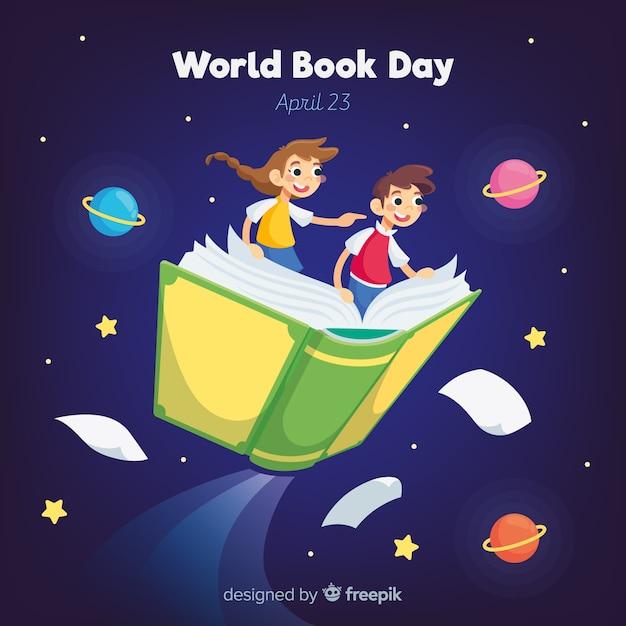 Плоский мир книжный день фон Бесплатные векторы