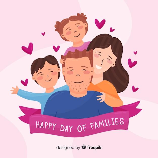 家族の背景の手描きの国際デー 無料ベクター