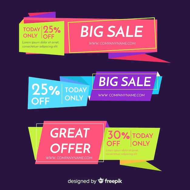 Красочные баннеры продаж оригами Бесплатные векторы