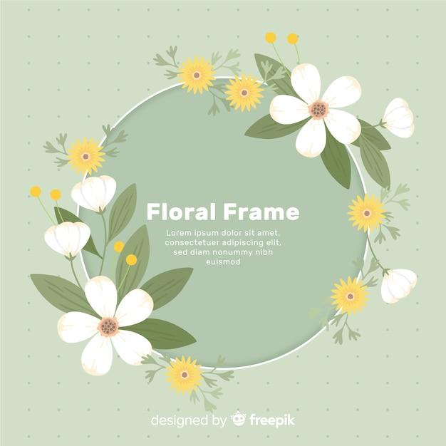 丸い花のフレームの背景 無料ベクター
