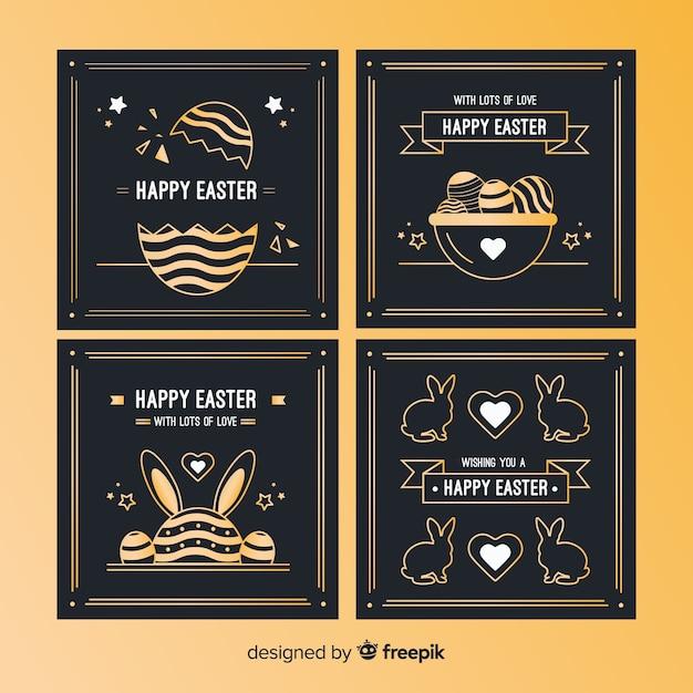 黒と金のイースターの日カードコレクション 無料ベクター