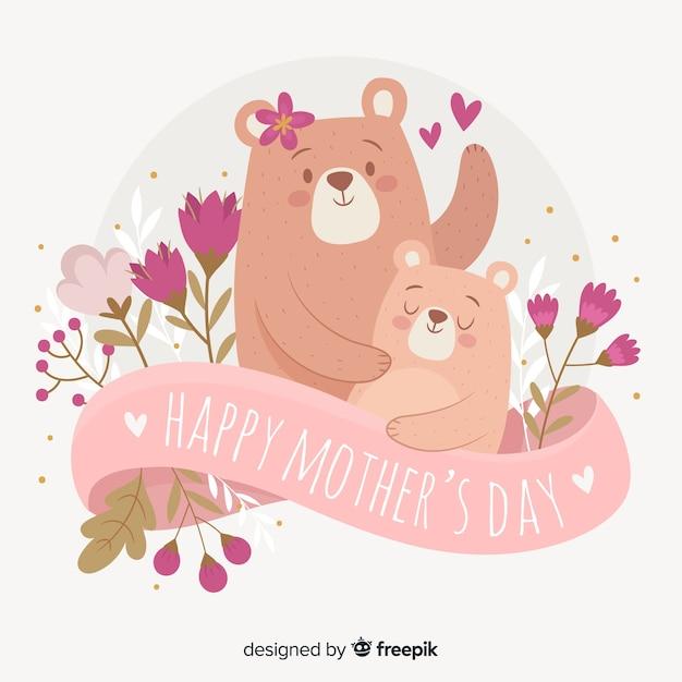 手描きのクマの母の日の背景 無料ベクター