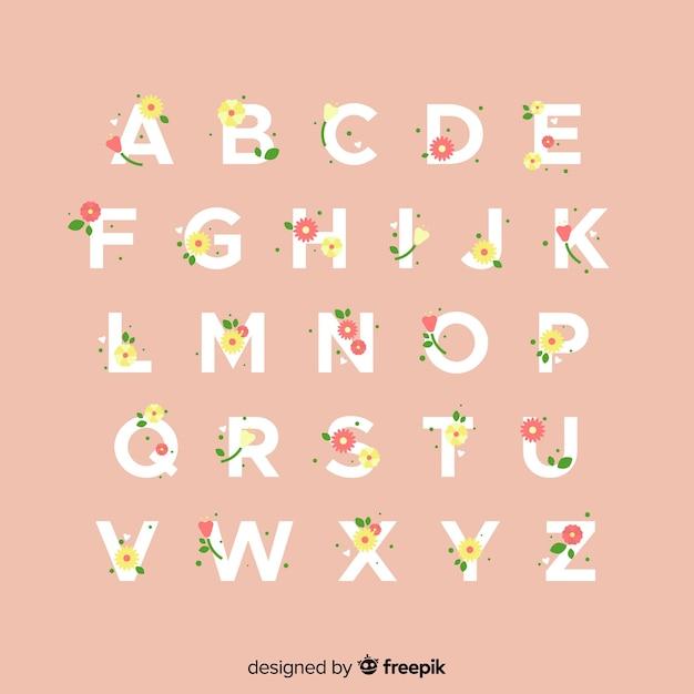 平らな花のアルファベット 無料ベクター