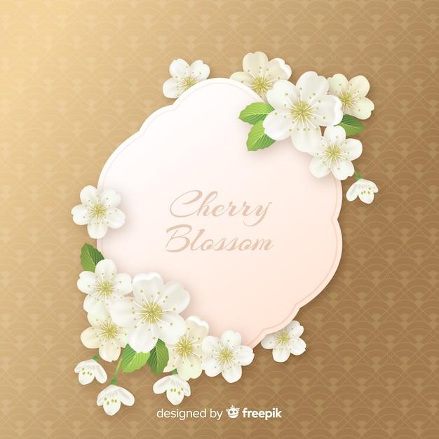リアルな桜の花の背景 無料ベクター