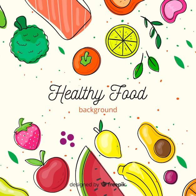 Фон плоский здоровой пищи Бесплатные векторы