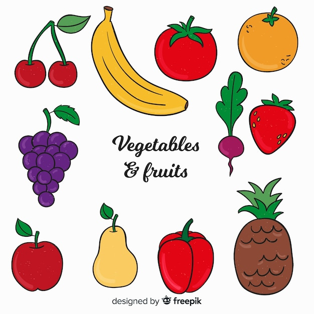 手描きの野菜や果物の背景 無料ベクター