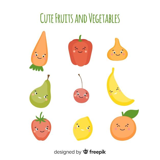 Плоский овощной и фруктовый фон Бесплатные векторы