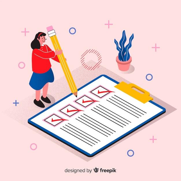 Женщина проверяя гигантский контрольный список Бесплатные векторы