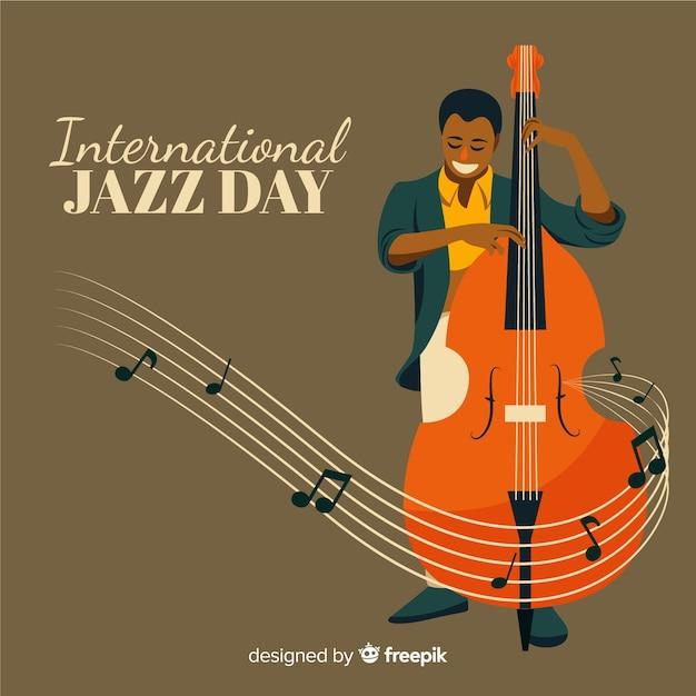 ビンテージの国際ジャズデーの背景 無料ベクター