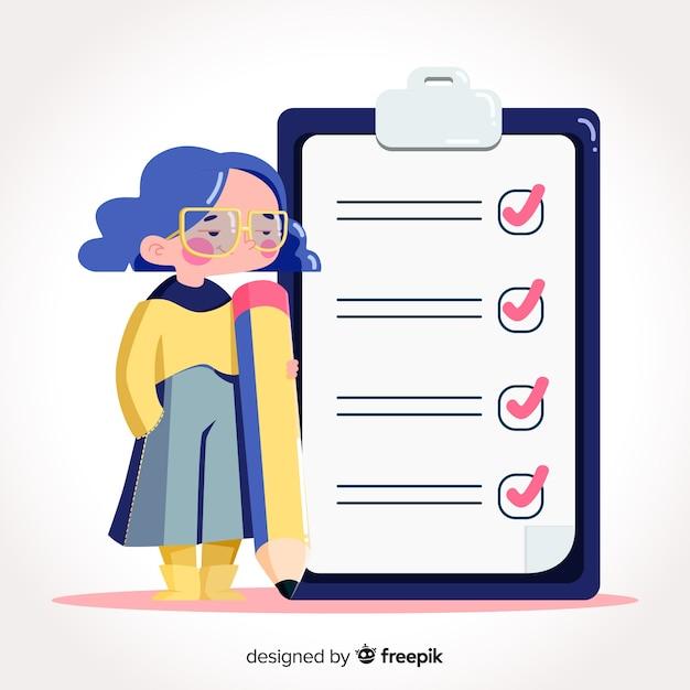 巨大なチェックリストをチェックする女性 無料ベクター