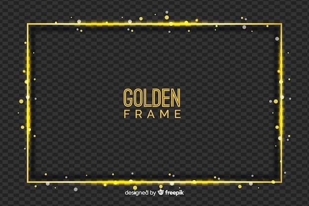 透明な背景にゴールデンフレーム 無料ベクター
