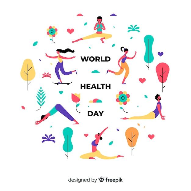 平らな世界健康日の背景 無料ベクター
