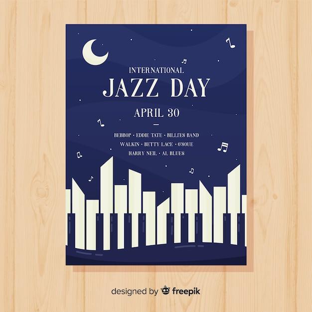 Шаблон плаката плоский международный день джаза Бесплатные векторы