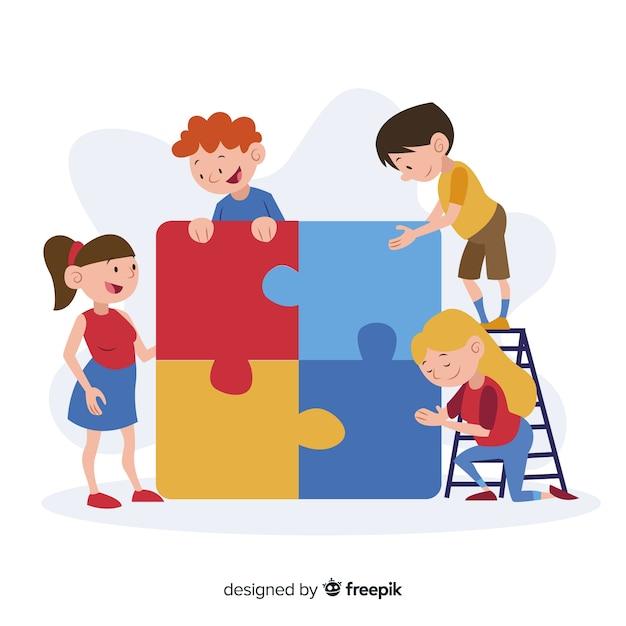 パズルのピースの背景を接続する子供たち 無料ベクター
