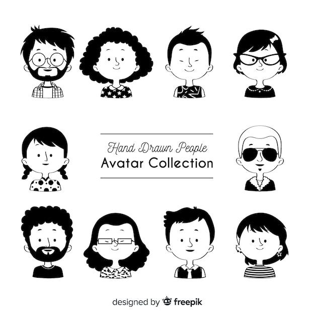 Коллекция рисованной аватар Бесплатные векторы