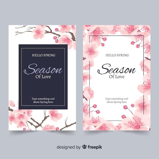インク桜カード 無料ベクター
