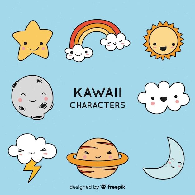Коллекция рисованной персонажей каваи Бесплатные векторы