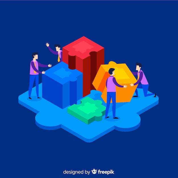 Люди, соединяющие кусочки головоломки изометрического фона Бесплатные векторы