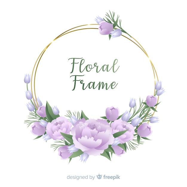 手描きの花のフレームの背景 無料ベクター