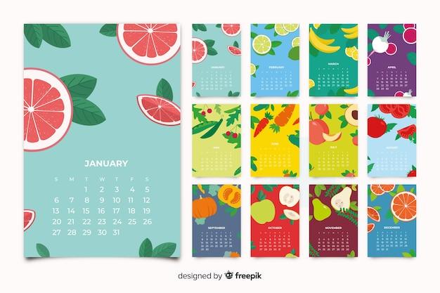 Красочный сезонный календарь овощей и фруктов Бесплатные векторы