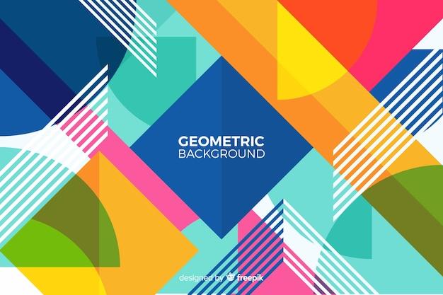 カラフルな幾何学的背景 無料ベクター