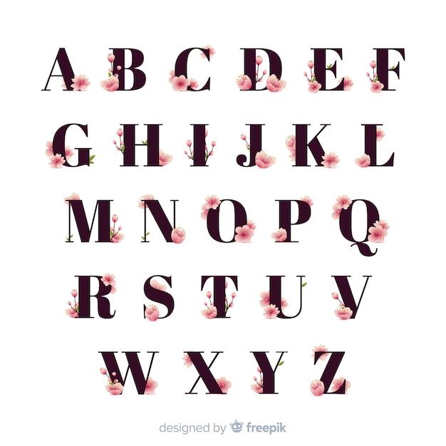 平らな桜の花のアルファベット 無料ベクター