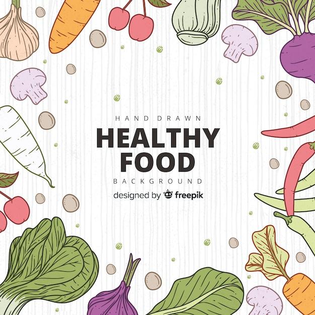 Здоровая пища фон Бесплатные векторы