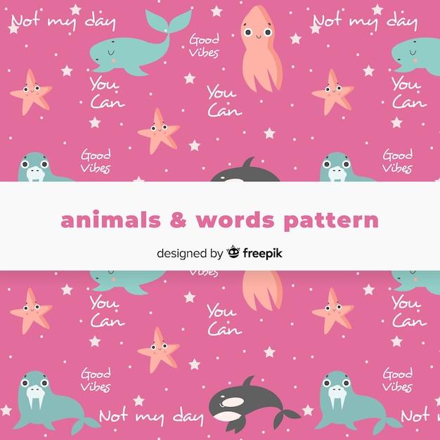 Рисованной картины животных и слова Бесплатные векторы