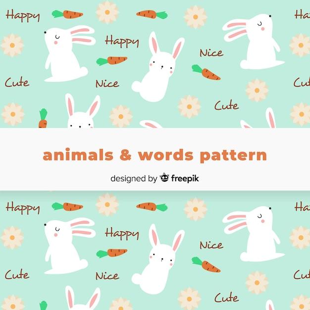 手描きのウサギと言葉のパターン 無料ベクター