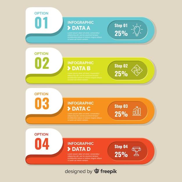 Плоский красочный фон инфографики Бесплатные векторы
