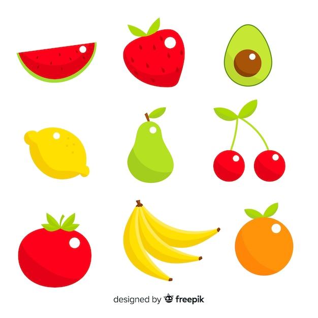 Плоские овощи и фрукты фон Бесплатные векторы